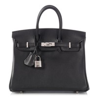 New HERMES 2017 Black Swift Birkin 25 Bag Purse ~ Plastic still on!