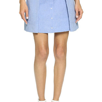 Blue Mini Denim Skirt with Buttons
