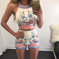 Casual Floral Print Crop Top And Shorts Two Piece