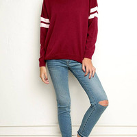 Burgundy Stripe Sleeve Sweater