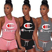 Champion Fashion Woman Casual Print Sleeveless Vest Top Shorts Set Two Piece Sportswear