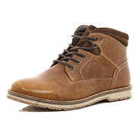 River Island MensTan lace up low worker boots