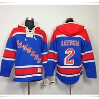 Hoodies Jerseys  ICE Hockey Rangers #2 Leetch 30 Lundqvist 24 Callahan Blue Best quality stitching Jerseys Sports jersey