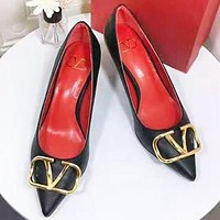 Bunchsun Valentino Fashion New Leather High Heels Shoes Women Black