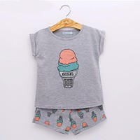 Girls Ice Cream Clothing Sets Girls Clothes Kids Clothing Sets T-Shirt + Short KIDS SUIT