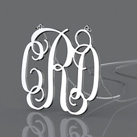 Personalized Monogram Necklace,Personalized necklace sterling silver