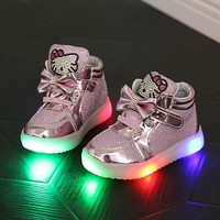 2019 Children Shoes Girls Led Shoes Cartoon Kt Cat Bow Children Sneakers With Light Led Emitting Lights Up Casual Shoes 21-25