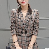 New Women's Plaid Split Roll Up Sleeve Double Breasted Patchwork Blazer Office Lady Elegant Fashion Tops M-3XL Plus Size
