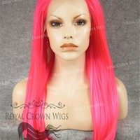 """24 inch Heat Safe Synthetic Straight Texture Lace Front """"Aphrodite"""" in Hot Pink"""