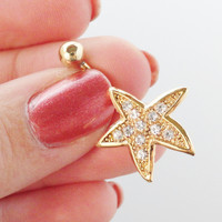 Gold Starfish Belly Button Jewelry Crystal Sparkle Belly Ring