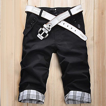 Men's Summer Check Slim Casual Cropped Pants