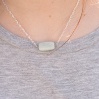 Amazonite bar necklace// Simple Gemstone Necklace