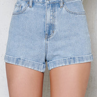 PacSun Charles Blue Cuffed Denim Mom Shorts at PacSun.com