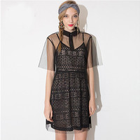 Black Spaghetti Strap Lace A-Line Dress With Sheer Mesh Cover Up