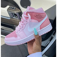 NIKE Air Jordan 1 Mid Digital Pink AJ1 Goddess pink shoes