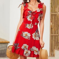 Fashionable Women Sweet V Collar Lace-Up Backless Flounce Dress Red