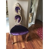 Gold leaf chair in Purple Velvet