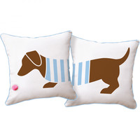 Playful Doxie Reversible Pillow