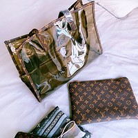 LV Fashion New Monogram Print Leather Shoulder Bag Crossbody Bag Two Piece Suit