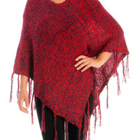 Red V-Neck Pullover Knitted Poncho
