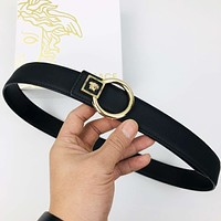 Versace Fashion New Leather Women Men Belt Black