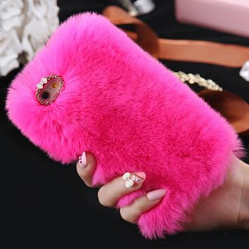 Cute Fur Fluffy Phone Case For iPhone SE2020 X Xr Xs 11 Pro Max 5 5S SE 6S 6 7 8 Plus