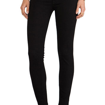7 For All Mankind HW Ankle Skinny in Second Skin Slim Illusion Elasticity Black