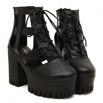 Lace Up Black Vegan Leather Cut Out Platform Shoes