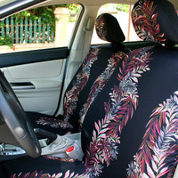 Car seat covers, colored leaves on black background, 8-piece set for FRONT and REAR adult car seats
