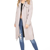Soho Faux Suede Trench Coat