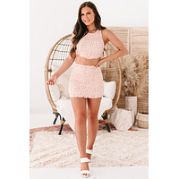 Rooted Memories Ribbed Floral Mini Skirt (White/Orange Ditsy)