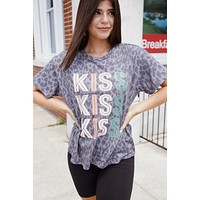 Leopard Kiss Distressed Graphic Tee, Charcoal
