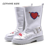 CCTWINS KIDS 2018 Autumn Girl Fashion High Boot Children Fashion Glitter Martin Boot Boy Kid Black Silver Pu Leather Shoe H032