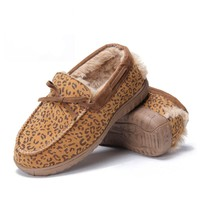 Leopard Print Brown Fluffy Slippers Loafers for Women