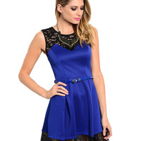 Sleeveless Lace Trimmed Cocktail Dress