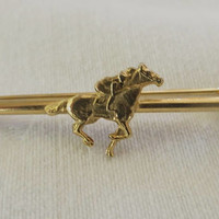 Equestrian Horse Brooch, Racehorse and Jockey Pin, First Call Trumpet, Vintage Equestrian Jewelry,