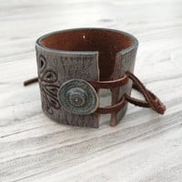 Painted Leather Cuff, Wide, Eco Friendly, Adjustable, Taupe, Embroidered, Flower Bracelet