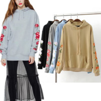 Flower embroidery embroidered hooded sweater women