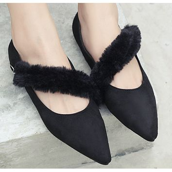 New women's shoes temperament pointy flat shoes