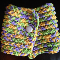 Super Soft Yellow, Green and Purple Knit Short Scarf