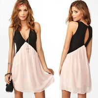 CONTRAST COLOR STITCHING ON THE BACK HOLLOW OUT DEEP V-NECK SLEEVELESS