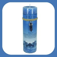 """Truth"" Pillar Candle with Sodalite Pendant"