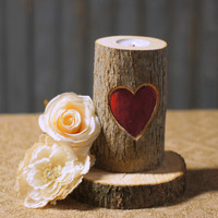 Red Carved Heart Candle Holder