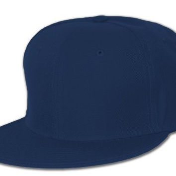 Blank Flat Curved Hat (More Colors Available), 7 1/2, Navy