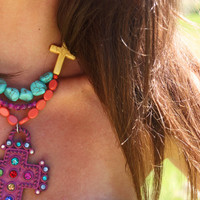 ReBeL CHiLd Chunky Pink and Multi-Colored Bling RHinestone Cross Pendant Mexican Cowgirl Necklace