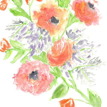 Flower watercolor art, watercolor flower print, floral print, rose painting, french country floral, french decor, botanical print, 8X10