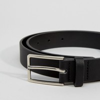 ASOS Smart Faux Leather Slim Belt In Black at asos.com