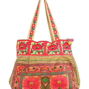 Hmong Tote Bag Flower Embroidered in Yellow