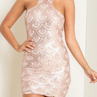 Pink Halter Sequin Scale Pattern Mini Dress