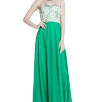 Strapless 3d Flower Lace Jade Chiffon Wedding Bridal Women Dress